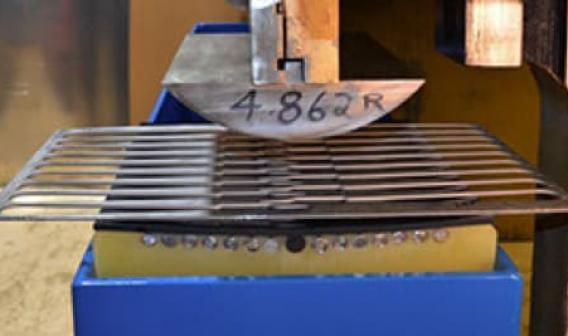 Cut-out in sheet metal, uniform radius bends are possible, with no kinks in weak sections.